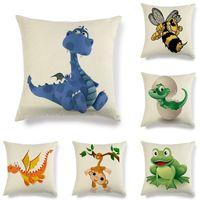Wholesale dinosaurs room decor for sale - Group buy New cartoon animal dinosaur frog print cotton linen pillowcase children gift room decor pillow cover chair lumbar cushion cover