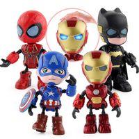 conjunto de bonecos vingadores venda por atacado-4 Peças / Set Avengers 4 Alloy Q Versão Figuras de Ação modelo boneca brinquedos 13 centímetros Iron Man boneca pode mover Som brilhante boneca presente L432