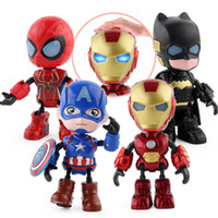 Wholesale avengers q for sale - Group buy 4 Pieces Set Avengers Alloy Q Version Action Figures Doll Toys cm Iron Man Doll model Can Move Sound Shiny Doll Gift L432
