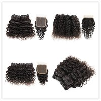 Wholesale peruvian malaysian cambodian curly hair resale online - KISSHAIR short bob style natural color human hair straight body deep water wave jerry curly hair bundles with closure g piece