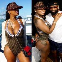 piece maxi kleider großhandel-Luxus F Brief Designer Bikini Bademode Für Frauen Sexy Kleid Badeanzug Body Sommer One Piece Sexy Lady Schwarz Braun Badeanzug W04