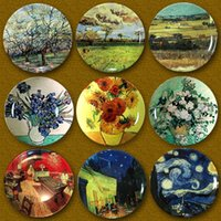 Wholesale hanging plate painting resale online - Van Gogh European Style Decorative Wall Painting Home Furnishing Background Artistic Plate Ceramic Wall Hanging Decoration Plate