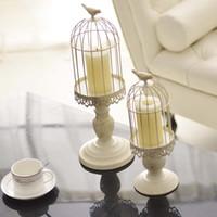 vögel tasse großhandel-European Candlestick Cube Stand Kerzenhalter White Hollow Bird Cage Geschnitzte Kerzenhalter Hochzeit Kerzenhalter Home Decor