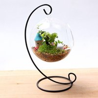 Wholesale metal tank stand resale online - Holder for Hanging Glass Vase for Flower Fish Tank Hanging Bulb Microlandschaft Metal Holder Stand Creative Supporter for Round Bottle Vase
