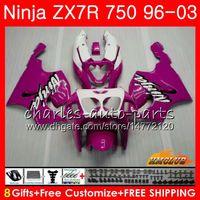 ingrosso kit corporeo zx7r-Corpo per KAWASAKI NINJA ZX-750 ZX-7R ZX750 ZX 7R 00 01 02 03 28NO.124 ZX 7 R rosa bianco caldo ZX 750 ZX7R 1996 2000 2001 2002 2003 Kit carenatura