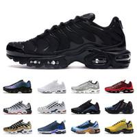 artı boyutu beyaz kırmızı toptan satış-nike air max tn plus ayakkabıları erkekler için Beyaz siyah Turuncu Volt Renk Çevirme HYPER CRIMSON spor sneakers eğitmenler boyutu 40-45