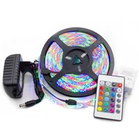 Wholesale 12v waterproof color changing remote for sale - Group buy Led LED strips epoxy resin IP65 waterproof RGB LED tape lights color changing with remote key A power adapter blister package