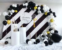 doğum günü balonları beyaz toptan satış-130 adet Mermer Balonlar Çelenk Kiti Krom Altın Siyah Beyaz Balon Kemer Doğum Günü Düğün Bebek Duş Hollywood Parti Süslemeleri
