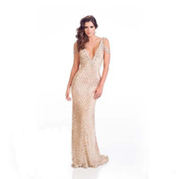 Wholesale crystal prom dresses online resale online - New Saudi Arabia V Neck Backless Prom Gowns For Sale Online Formal Evening Gowns Stunning Crystal Beaded Mermaid Prom Dresses