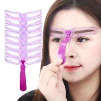 modelador de cejas al por mayor-Plantillas de cejas que forman la ceja Maquillaje Modelo de la plantilla Reutilizable modelador de la ceja Definir plantillas Plantillas de maquillaje 8 unids / set RRA160