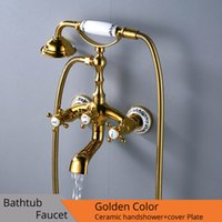 Wholesale gold faucet luxury resale online - Luxury Bathtub Faucets Gold Brass Bathroom Faucet Mixer Tap Wall Mounted Hand Held Shower Head Kit Shower Faucet Sets