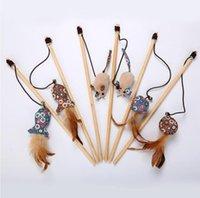 ingrosso giocattoli di pesca in legno-Bastone per gatti in legno con asta a forma di gatto divertente con campana che sbatte asta divertente con testa di ricambio floreale per mouse di peluche