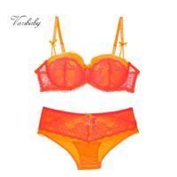 ropa interior de color naranja al por mayor-conjunto de ropa interior sexy al por mayor conjunto de lencería de gran tamaño conjunto de aros de encaje naranja conjunto de sujetador de talla grande