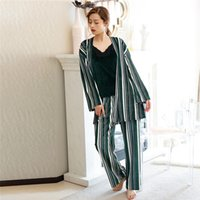 winter home pants Canada - Women Stripes Pajama Sets With Belt 3 Pieces  Long Sleeve Long fcf471795