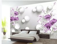 Wholesale calla lilies painting resale online - Custom d Mural Wallpaper Hand painted purple calla lily beautiful fresh D background wall