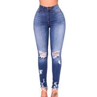 брюки для девочек оптовых-Summer Jeans Ripped Hole Women Denim Pants Girls Trousers Pencil Skinny High Waist Slim Fit Casual Pants Stretchy Blue Tassel