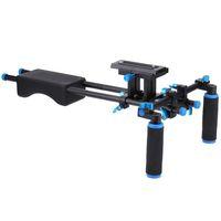 système de support des tiges de 15 mm achat en gros de-Livraison gratuite D2 DSLR Rig caméra Mount Head système de support vidéo épaule épaule 15mm tige pince support