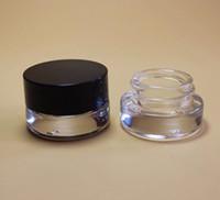 ingrosso crema di jar 3g-500 X 3g Traval Piccola crema per trucco Vaso di vetro con coperchi in alluminio pad bianco pe 3cc 1 / 10oz barattolo di vetro per imballaggio cosmetico SN1916