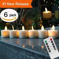 fernbedienung batteriebetriebene led großhandel-Fernbedienung LED Kerzen Packung mit 6 warmweißen LED flammenlosen Kerzen Batteriebetriebenes Tanzen Flammenhaushalts-Teelicht