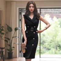 ingrosso vestito casuale da lavoro coreano-2018 Donna Estate Office Lady Abiti con cintura Abiti da lavoro senza maniche Slim Double Button Abiti coreani sexy stile moda coreana MX190727