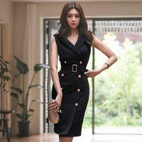 yazlık elbiseler kore bayanlar toptan satış-2018 Kadın Yaz Ofis Bayan Kuşaklı Vestidos Kolsuz Iş Elbisesi Ince Çift Düğme Seksi Kore Moda Stil Elbise Elbise MX190727