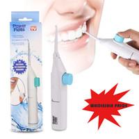 ingrosso il dente dei denti sceglie il filo-Power Floss Dentale Water Jet Tooth Pick No Batterie Pulizia dentale Sbiancante Cleaner Kit Regalo detergente per denti Anti-carie Irrigatori orali