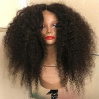 beste menschliche afro kinky haare großhandel-Beste Lace Front Echthaar Perücken Afro verworrene lockige Lace Front Perücke natürliche ColorCan für schwarze Frauen gefärbt werden
