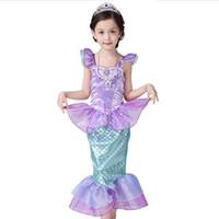 Wholesale baby girl little mermaid costume resale online - Baby Girls Princess Ariel Dress Child The Little Mermaid Ariel Princess Cosplay Costume Fantasia Mermaid Tail Dress Kids
