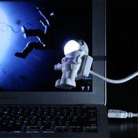 defter lambası toptan satış-Bilgisayar Dizüstü Bilgisayar Dizüstü Saf Beyaz Taşınabilir Spaceman Astronot Ayarlanabilir LED Gece Işık için Mini Okuma Lambası USB Tüp