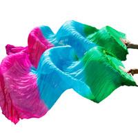 costumes de danse zébrée pour les filles achat en gros de-Haute Qualité 100% Soie Danse Du Ventre Fans Bamboo Ribs Fans En Soie 1 Paire Danse Du Ventre Performance Props Long Vert + Turquoise + Rose