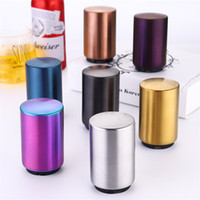 Wholesale gold beer resale online - Hot selling Creative Stainless Steel Bottle Opener Beer press open lid utensil Gold plated liquor opener T9I0085