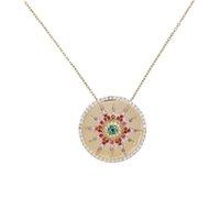 münzenscheibe halskette großhandel-CZ Sun Flower Runde Münze Anhänger Halsketten für Frauen Regenbogen Cz Disc Gravieren Stern Starburst Geometrische Trendy Modeschmuck Y19050802