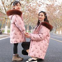 chaqueta larga larga amarilla al por mayor-Girls Down Chaqueta larga Chaqueta de Down Kids Nueva versión coreana de invierno Ropa con capucha Blanco Rosa Amarillo Rojo Negro