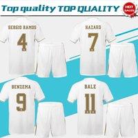 traje de jersey para hombres al por mayor-2020 Real Madrid local blanco # 7 PELIGRO # 9 BENZEMA Jerseys de fútbol 19/20 Hombres traje de fútbol de manga corta uniformes de fútbol personalizados + pantalones