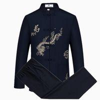 chinesisch bestickte kleidung großhandel-New Plus size 4XL Anzüge Herren Langarm-Sets Traditional Chinese sticken Drache Tang-Anzug Kleidung Sets