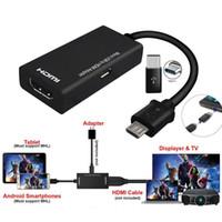 hdmi macho hembra micro al por mayor-Cable adaptador tipo C Micro USB macho a HDMI hembra para teléfono celular tableta TV suministros eléctricos TV para el hogar