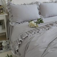 Wholesale bedspread grey king size beds online - Elegant bedding set queen size light grey ruffle lace duvet cover wrinkle bed sheet bedspread princess bed linen home textile