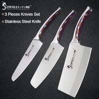 высокоуглеродистые ножи из нержавеющей стали оптовых-5 6 7 дюймов Sowoll 3 шт. Набор кухонных ножей из нержавеющей стали. Смола.