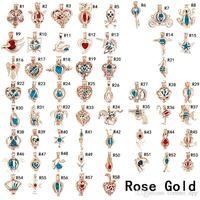 roségold perle anhänger halskette großhandel-Mode Perle Käfig Anhänger Rose Gold Silber Überzogene Edelstein Perlen Schwimm Medaillons Charme Für Halsketten Diy Schmuck Machen In Groß Großhandel
