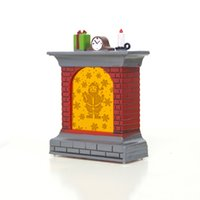 портативный аккумулятор рождественский свет оптовых-Letters Print Fireplace Ornament Portable Party Table With Light Festival Home Battery Powered Decoration Christmas Props