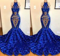 ingrosso vestiti junior di sirena-Royal Blue Mermaid Prom Dresses collo alto Oro Appliques Rose fiori lunghe donne Abiti da sera occasione 2K19 Junior Party Indossa BC1213