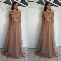 Wholesale size 14 prom dresses sale for sale - Group buy Floor Length A line Off Shoulder Appliques Tulle Prom Party Dresses Tulle Sexy Party Dress Hot Sales