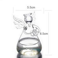 ingrosso piano vasi fiori artificiali-Carino Clear Glass Angel Shape Flower Plant Hanging Vaso di vetro Contenitore Decorazioni di nozze Tavolo Vaso trasparente Home Deco