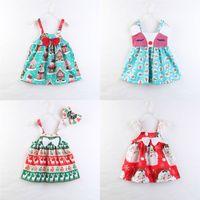 Wholesale christmas kid costume resale online - Kids Girls Christmas Dresses Design Bow Tie Santa Claus Moose Printed Sling Lace Dress Kids Designer Girls Party Peform Costume T
