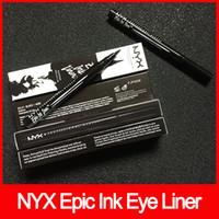 cosméticos de tinta al por mayor-Maquillaje de ojos NYX Epic Ink Liner nyx Black Eyeliner Pencil Headed Makeup Liquid Black Color Eye Liner Waterproof Cosmetics envío gratis