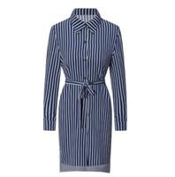 tatil elbiseleri toptan satış-Çizgili Düğme Gömlek Elbise kadın Tatil Bohemian Plaj Elbise Seksi Derin Gevşek Elbiseler Yaz Rahat Kadın Elbiseler