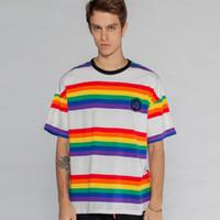 86675eb3c Rainbow Striped Short Sleeve T Shirts Streetwear 2019 Men Women Hip Hop  Harajuku Casual Tees Male Fashion Tops Tshirts