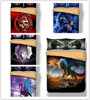 Wholesale cool queen beds resale online - Cool Dragon Bedding Set Animals Duvet Cover with Pillowcase For Twin Full Queen King All Size
