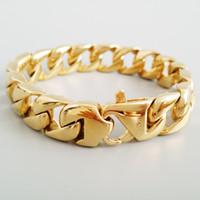 Wholesale steel bike chain bracelet for sale - Group buy 15MM Wide Curb Cuban Bracelet Men Cool Silver Gold Polished Stainless Steel Bike Link Chain Mens Bracelets Jewelry Wristband