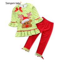 Wholesale baby chevron sets for sale - Group buy Retail baby girl designer clothes outfits Christmas set elk chevron top pant suits Clothing Sets baby tracksuit kids boutique Clothes